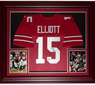 Ezekiel Elliott Autographed Signed Auto Ohio State Buckeyes Red #15 Deluxe Framed Jersey JSA - Certified Authentic