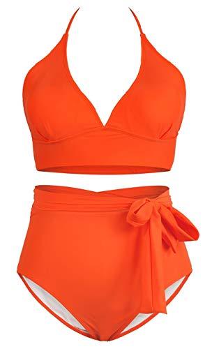 Sovoyontee Women's Orange 2 Piece Plus Size High Waisted Tummy Control Swimwear Swimsuit 4XL 20