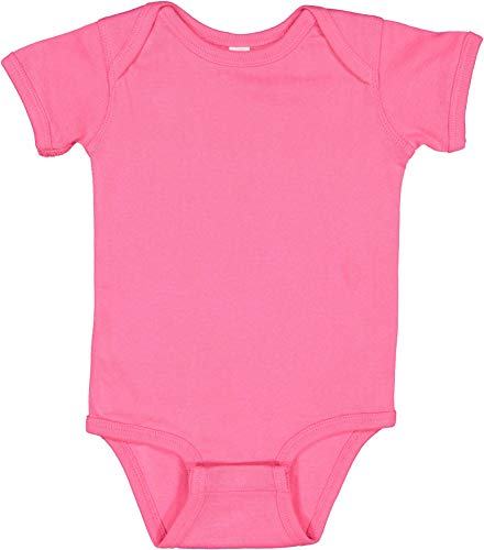 RABBIT SKINS, Baby Soft Short-Sleeve Bodysuit, Hot Pink, 6 Months