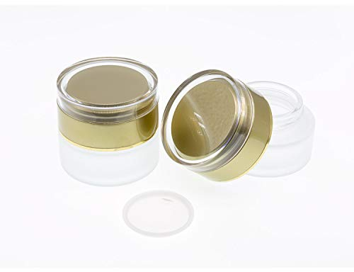 AKOAK 2 Pcs Refillable Frosted Glass Cosmetic Cream Jar Bottle Container,High-end Separate Bottles for Cosmetics with Gold Lid,Capacity 30g/1oz