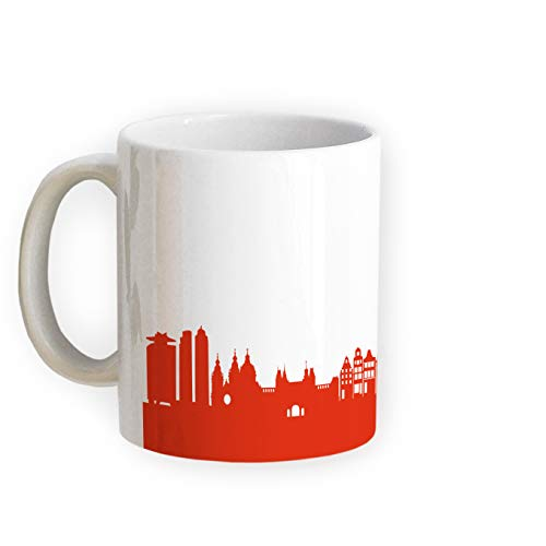 44spaces taza Amsterdam Skyline – Taza de café con diseño de ciudad 5 colores para Amsterdam & Fans, mudanza Richtfest Arte (Rojo)