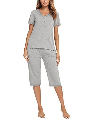 Aibrou Pijamas Mujer, Pijama Verano Mujer Pijama Corto Algodón para Mujer Ropa de Dormir Manga Corta Conjunto Pijama de Encaje en V Botones Dos Piezas XXL