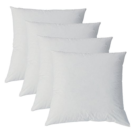 Kuscheliges Daunenkissen 40 x 40 cm Bezug reine Baumwolle Creme (4 er Set)