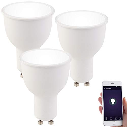 Luminea Leuchtmittel LED: 3er-Set WLAN-LED-Lampen GU10, komp. mit Alexa, tageslichtweiß, A+ (WLAN-LED-Lampen GU10 weiß)