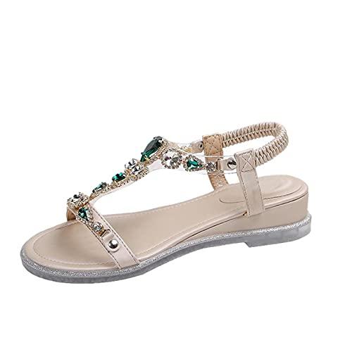 RTPR Zapatos de mujer con cuña, brillantes, sandalias romanas abiertas con cuña, sandalias de verano elegantes sandalias romanas sandalias de playa con hebilla, verde, 39 EU