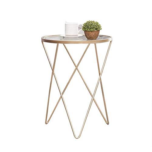 Bijzettafel industri毛le ronde salontafel, modern nachtkastje, duurzame metalen bijzettafel met glazen blad voor woonkamer, balkon hoektafel (kleur: goud)