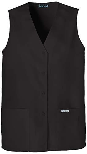 CHEROKEE Professional Solids Button Front Vest, 1602, M, Black