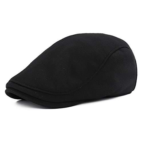 Gisdanchz Boina Hombre Algodón Gorra Irlandesa Invierno Militar Sombrero Flat Cap Gatsby Newsboy Hat Negro