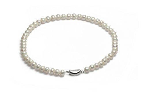 Schmuckwilli echte Perlen Süßwasserperlen Perlenkette weiß mit 925 sterling Silber Verschluß 45cm 9-10mm dsk3006-45