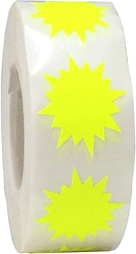 Etiquetas adhesivas de color amarillo fluorescente para organizar inventario de 2,5 cm con forma de círculo redondo 500 pegatinas en un rollo