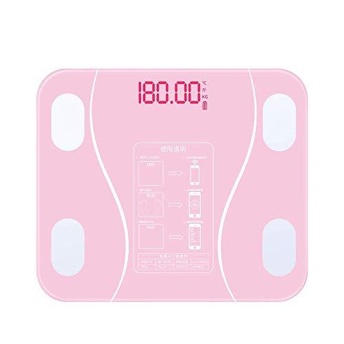 BINGFANG-W Balanza compacta báscula de baño, balanza Digital electrónica de Peso del Cuerpo Humano Elegante electrónico Equipos de excavación, 180Kg / 400 Libras, Rosa Cocina