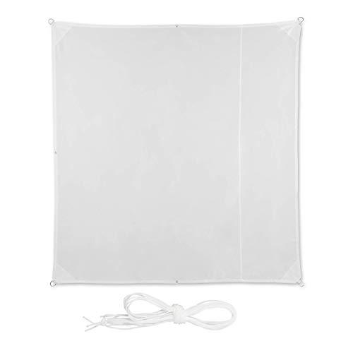 Relaxdays Toldo - Vela Impermeable con Protección UV, Blanco, 2 x 2 m