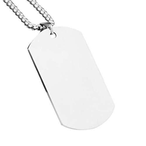 EXCEART Colgante con Placa de Identificación de Acero de Titanio Nombre del Ejército Militar Identificación Placa de Identificación para Hombre Collar Colgante con Cadena (Plata)