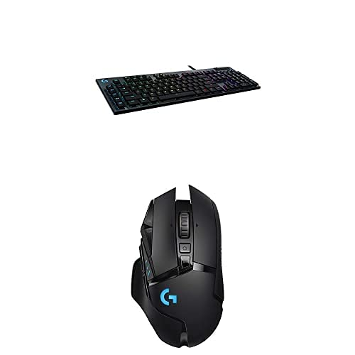 Logitech G815 RGB Mechanical Gaming Keyboard (Linear) & G502 Lightspeed Wireless Gaming Mouse with Hero 25K Sensor, PowerPlay Compatible, Tunable Weights and Lightsync RGB - Black