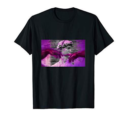 Vaporwave Creation of Adam Michelangelo David Statue T-Shirt
