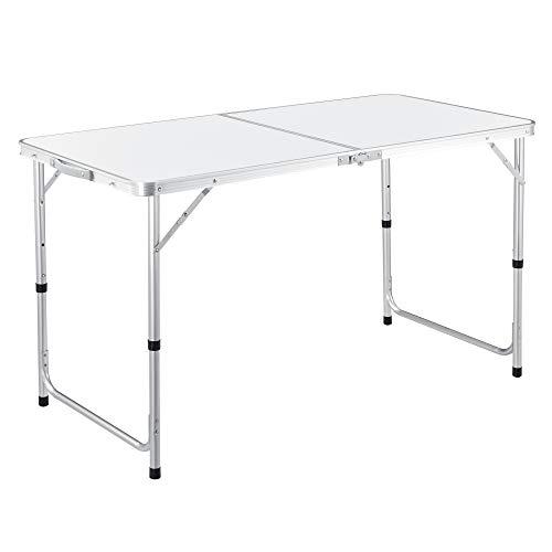 casa.pro Höhenverstellbarer Klapptisch 120x60x55/63/70 cm Multifunktionstisch Gartentisch Klappbarer Campingtisch Multifunktions-Klapptisch Falttisch bis zu 30 kg Aluminiumgestell Weiß