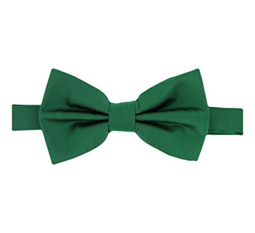 David Van Hagen Emerald Green plaine satin de soie cravate - déjà-nouée de