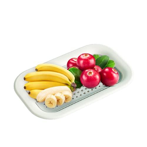 Batchelo Canasta de drenaje para fruta profesional con doble capa, diseño antideslizante, perfecto para drenar pastas, verduras, frutas, color blanco