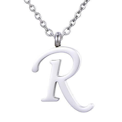 Morella Collar de Plata y Acero Inoxidable con Colgante Letra R
