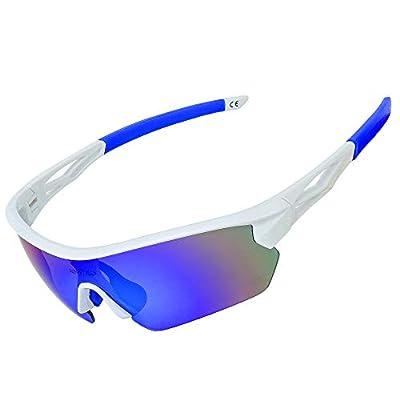 JOGVELO Polarized Sports Sunglasses,Cycling Glasses Men UV400 with 5 Interchangeable Lenes, Blue&White