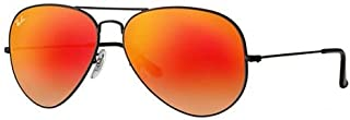 Ray-Ban Aviator Unisex Sunglasses Black Frame Orange Flash Lenses. 58mm (standard size). UV Protection and Maximum Comfort. 100% Authentic. Made in Italy.