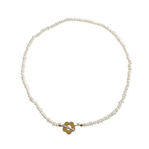 Varitystore Collar de perlas en forma de agua dulce retro temperamento pulsera de cadena de clavícula de viento frío