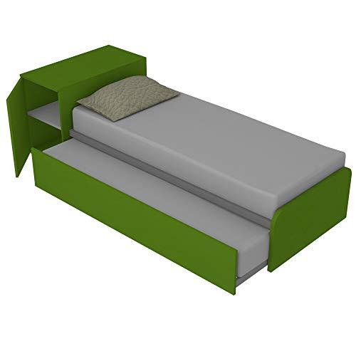 964RK Bett mit Stauraum und zweitem Ausziehbett, unabhängig und hochklappbar, um ein Doppelbett zu bilden, inklusive Stauraum und Lattenrosten, hergestellt in Italien, Apfelgrün