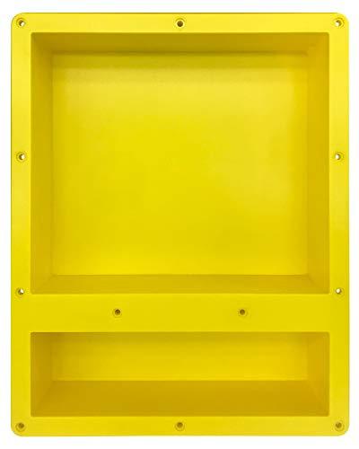 Uni-Green Vertiefte Duschnische – gelb, 40,6 x 50,8 x 10,2 cm, Organizer für Shampoo und Toilettenartikel (Doppelregal)