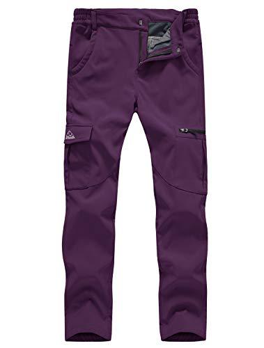 Gopune Women's Waterproof Windproof Fleece Lined Warm Hiking Ski Snow Insulated Pants (Purple,S)