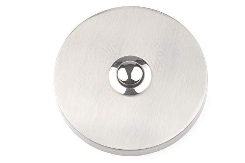 HUBER Aufputz Klingeltaster 1-fach rund aus Echtmetall - Türklingelknopf - Haustürklingel Aufputz aus Messing - Klingelschalter, Klingel, Taster