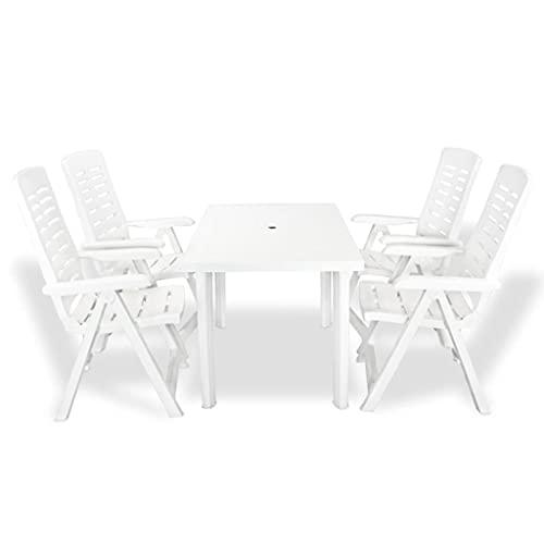 Juego de Muebles de jardín, Juego de Comedor al Aire Libre, Mesa y sillas para Patio, Juego de Comedor al Aire Libre de 5 Piezas, plástico Blanco