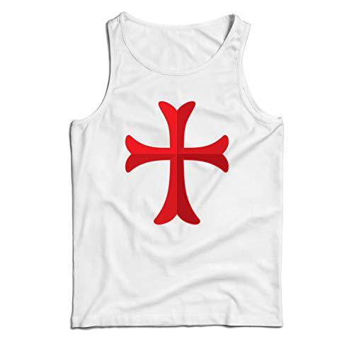 lepni.me Camisetas de Tirantes para Hombre El Caballero Templario de la Cruz Roja, el Templo de la Orden de Salomón (Small Blanco Multicolor)
