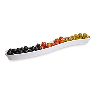 White Porcelain Olive Plate - Swerve Design, Beautiful Presentation - 16 Inches - 1ct Box - Restaurantware