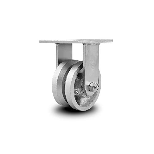 """V Groove Semi Steel Cast Iron Rigid Top Plate Caster w/4"""" x 2"""" Silver Wheel - 800 lbs Capacity/Caster - Service Caster Brand"""