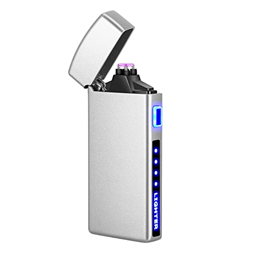 Lighter - Electric Lighter Windproof Double ARC Plasma Lighter, USB Rechargeable Lighter with Battery Indicator for Fire, Candle, Outdoors, Adventure, Camping, Hiking (Matt Silver)