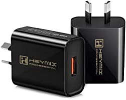 YESDEX QC 3.0 Charger, 2-Pack,18W Quick USB Wall Charger AU-Plug for Wireless Charger Adapter, Fast Charging Plugs (Black