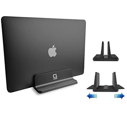 Adjustable Laptop Stand Dock   Compatible with All Laptops   Vertical Modern Aluminum Custom Fit Desktop Space-Saving (Black)