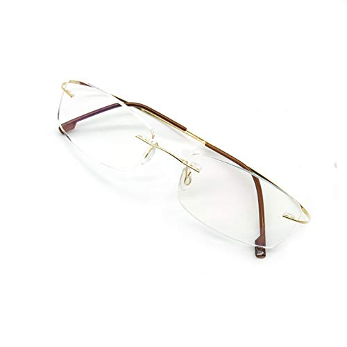 JEEDA Randlose Lesebrille Licht Titan Herren Damen Brille Rimless Reading Glasses 601(Gold,+1.00)