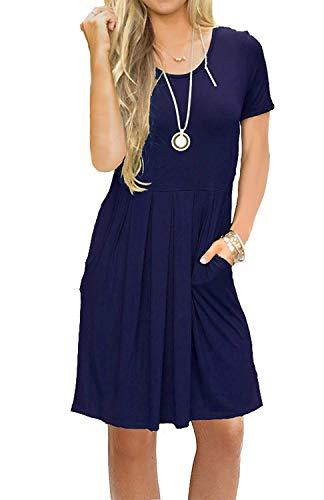 AUSELILY Women's Solid Plain Short Sleeve Pockets Indigo Casual Swing T-Shirt Dresses Navy Blue XL