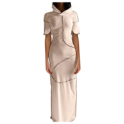 NHNKB Disfraz de Halloween para mujer, vestido steampunk, con capucha, estilo gótico, ajustado, maxivestido, color beige, XL