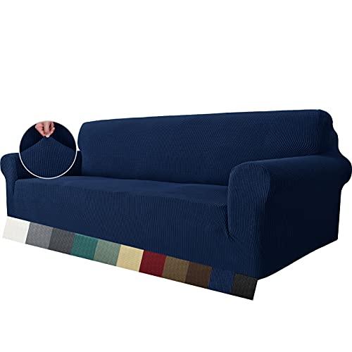 MAXIJIN Funda elástica para sofá de 3 plazas, 1 Pieza Fundas de sofá para Sala de Estar Jacquard Protector de Muebles Funda de sofá para Perros (3 plazas, Azul Marino)