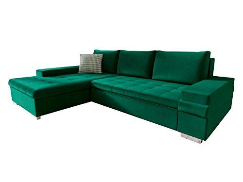 Mirjan24 Design Ecksofa Bangkok Mini, Moderne Eckcouch mit Schlaffunktion und Bettkasten, Ecksofa für Wohnzimmer, Gästezimmer, Couch L-Form, Wohnlandschaft (Magic Velvet 2225 + Senegal 823)