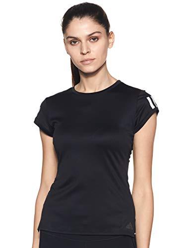 adidas Damen T-Shirt Club 3 STR Tee, Black/Matte Silver/White, S, FK6972