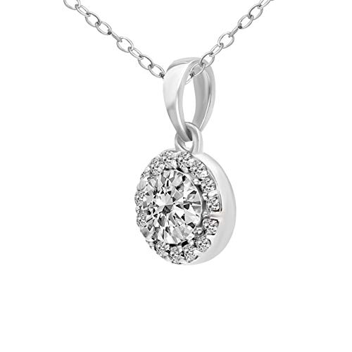Mothers Day Gifts IGI Certified Lab Grown Diamond Pendant 14K White Gold 3/8 carat Lab Created Diamond Halo Pendant For Women ( 3/8 CTTW, HI Color, SI1-SI2 Clarity Diamond Gifts for Mom)