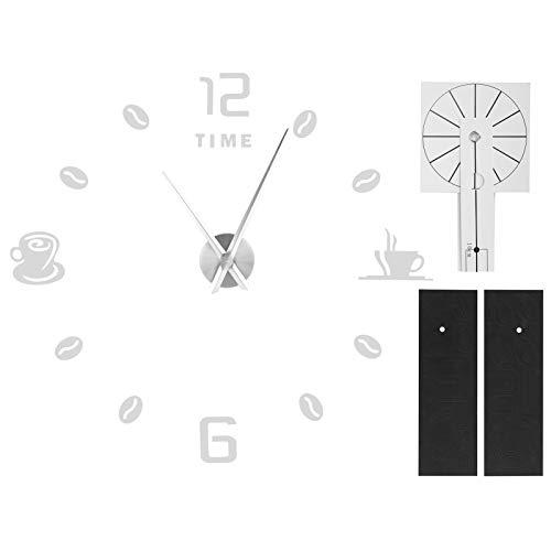 AMONIDA Reloj de Bricolaje, Reloj de Pared con Espejo, Reloj Adhesivo para decoración de Pared(Silver)