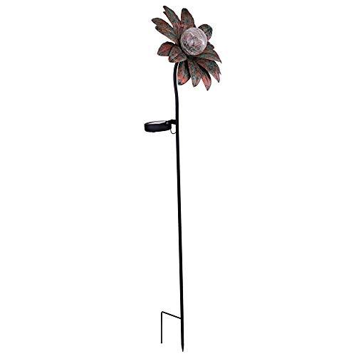 LED Solar Blume Erdspieß Leuchte rost Crackle Glas Außen Beleuchtung Hof Garten Terrassen Deko Steck Lampe