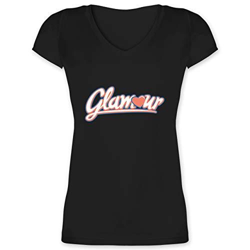 Typisch Frauen - Glamour - XL - Schwarz - V-Neck - XO1525 - Damen T-Shirt mit V-Ausschnitt