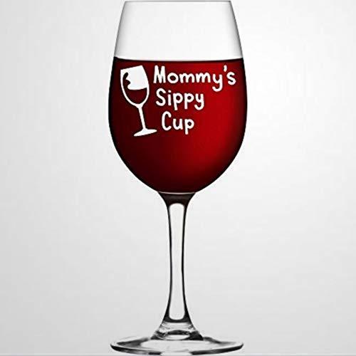 Mommys Sippy Cup - Copa de vino (grabado a mano, regalo para el día de la madre)