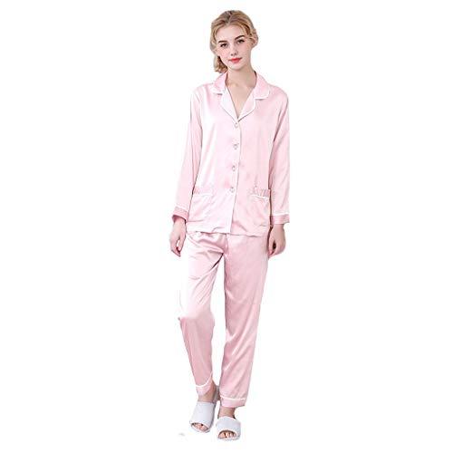 Cooll Damen Minimalistische Seide Solide Nachtwäsche Sets Hemden Tunika Hose Pyjama Anzüge Knopf Loungewear PJ Bequemer Nachtwäsche Weicher Bademantel für Damen Gr. XL, rose