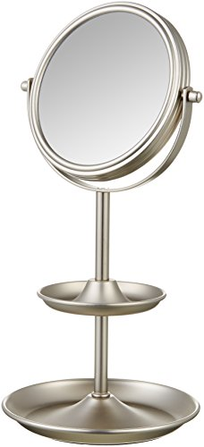 """AmazonBasics Tabletop 5"""" Vanity Makeup Mirror with 1x/5x Magnfication and Accessory Shelves, Silver Nickel"""